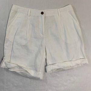 Eileen Fisher White Linen Roll Cuff Shorts 6